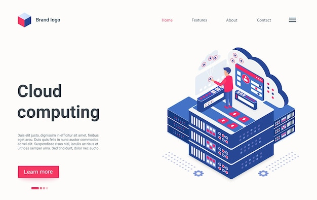 Cloud computing tech concept isometric landing page admin working on server host center