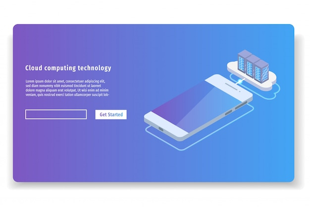 Cloud computing technology 3d isometric concept. vector illustration.