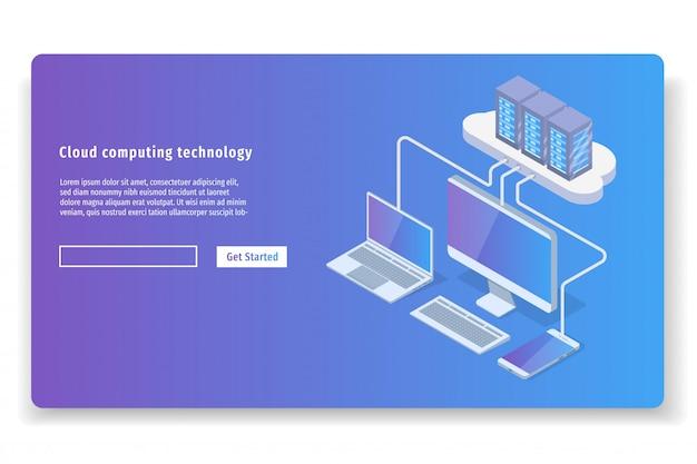 クラウドコンピューティング技術3 dアイソメトリックコンセプト。ベクトルイラスト。