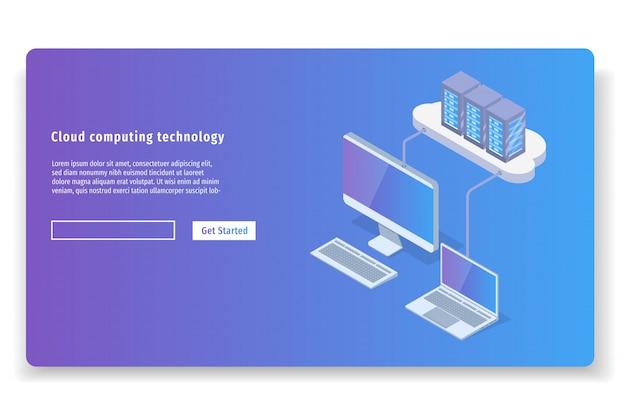 Облачные вычисления технологии 3d изометрические концепции. векторная иллюстрация