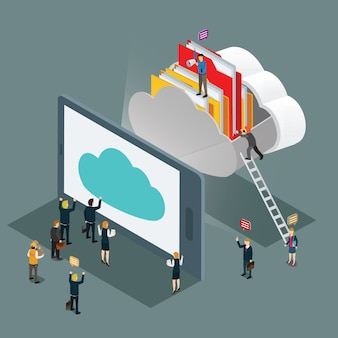 Cloud computing technology business isometric concept