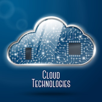 Cloud computing technology concept illustration, steel with glass cloud and clockwork microchips undercover.