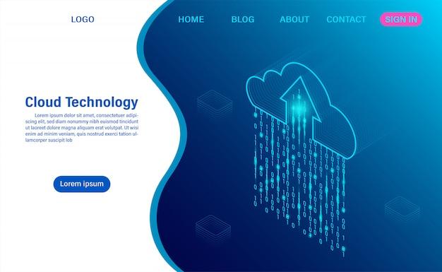 Технология облачных вычислений. цифровой сервис или приложение с передачей данных. обработка данных защита концепции безопасности данных. изометрическая квартира