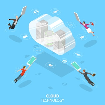 Cloud computing technology isometric flat vector concept.