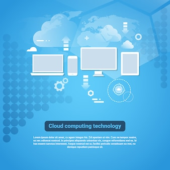 Cloud computing technology template web banner with copy space
