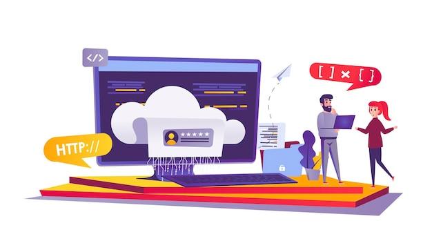 Веб-концепция облачных вычислений в мультяшном стиле