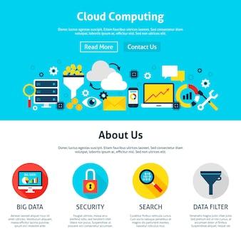 クラウドコンピューティングwebデザイン。ウェブサイトのバナーとランディングページのフラットスタイルのベクトルイラスト。