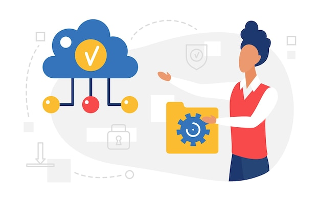 Cloud computing web service user holding data folder uploading files to cloud storage
