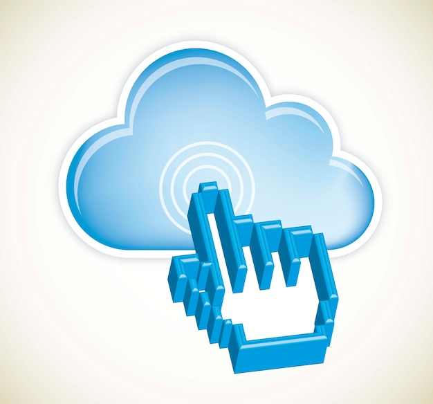Cloud computing with 3d cursor hand vector illustration