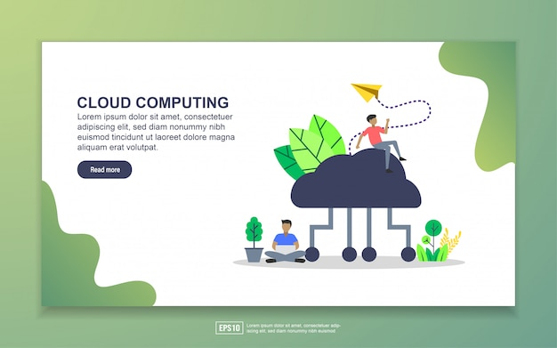 Cloud computing with tiny people character landing page