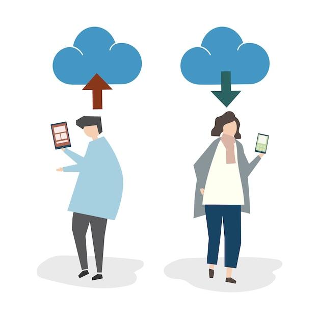 Иллюстрация аватара с облачным подключением