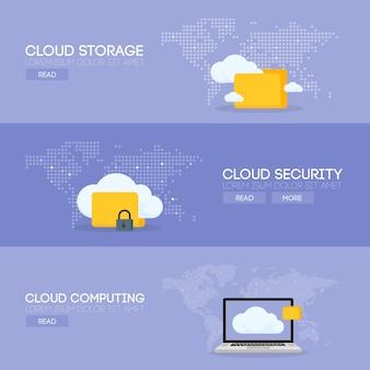 Облако coputing службы хранения и концепция баннера безопасности. векторная иллюстрация.