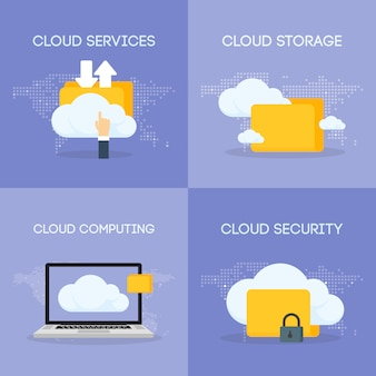 Cloud coputing storage service and security composicion set