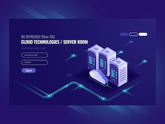 Cloud data center, server room icon, information request processing