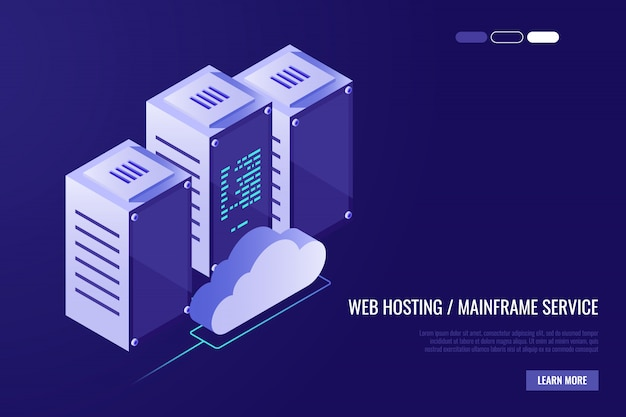 Cloud data center with hosting servers. computer technology, network and database