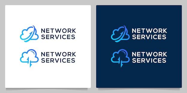 名刺と矢印の線のアウトラインロゴデザインとクラウドデータネットワーク