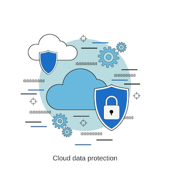 Cloud data protection flat design style vector concept illustration