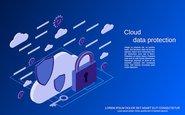 Cloud data protection, information security flat isometric concept illustration