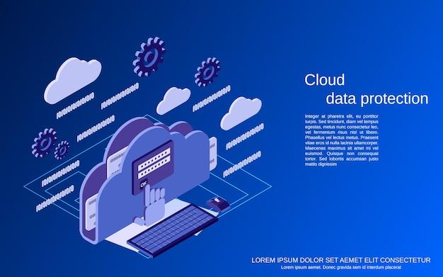 Облачная защита данных, информационная безопасность, плоская изометрическая векторная иллюстрация концепции