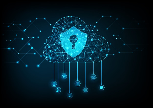 Cloud data security concept background