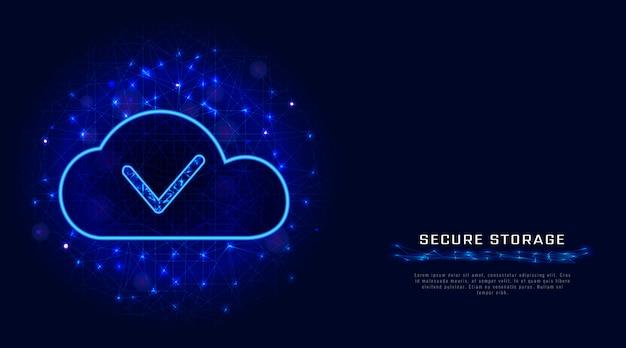 클라우드 데이터 스토리지 개념. 사이버 보안 기술, 추상 다각형 배경