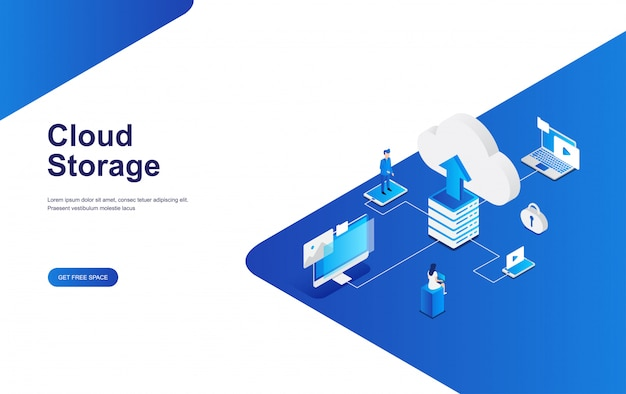 Cloud data storage concept flat isometric design