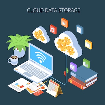 Cloud data storage isometric composition with personal information and media files on dark
