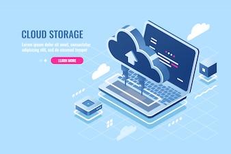 クラウドデータストレージ等尺性のアイコン、リモートアクセスの概念、ラップトップ用のクラウドサーバーにファイルをアップロード