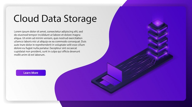 Cloud data storage for landing web page background template
