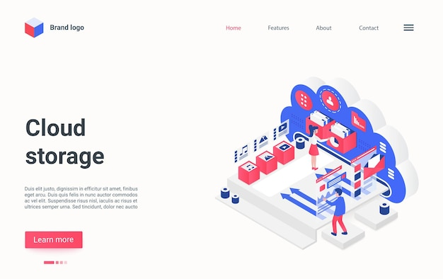 Cloud data storage service concept isometric landing page people transfer media files