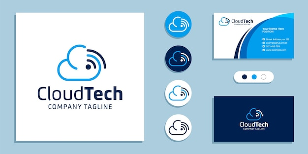 클라우드 데이터 기술 로고 및 명함 디자인 영감 템플릿