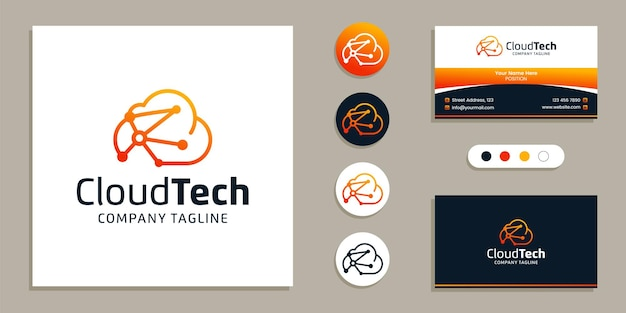 クラウドデータテクノロジーのロゴと名刺デザインのインスピレーションテンプレート