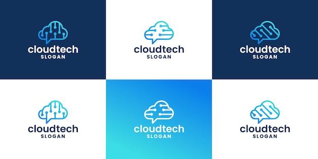 Cloud data technology logo design for developer technology
