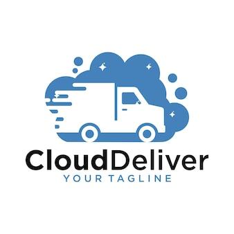 Cloud deliver logo design template