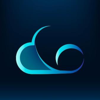 Cloud editable slogan  icon design