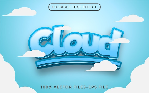 Cloud editable text effect premium vectors