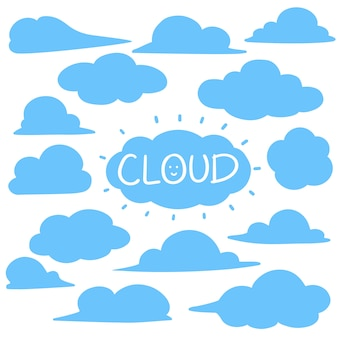 Cloud elements set hand drawn style
