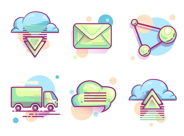 Cloud email icons, modern color pictograms