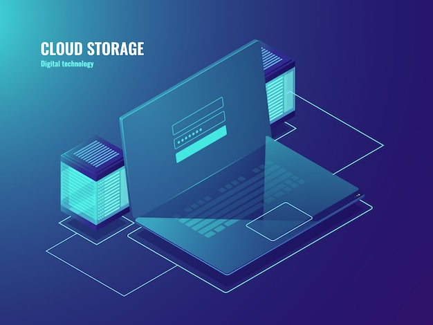 Хранилище облачных файлов, серверная комната, доступ к центру обработки данных, экран для ноутбука с формой входа пользователя