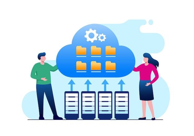 Cloud filing system flat vector illustration banner