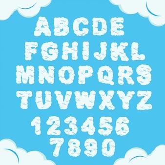 Облачный шрифт. небесный алфавит. облачно пухлые буквы и цифры. небесная пушистая гарнитура. вектор