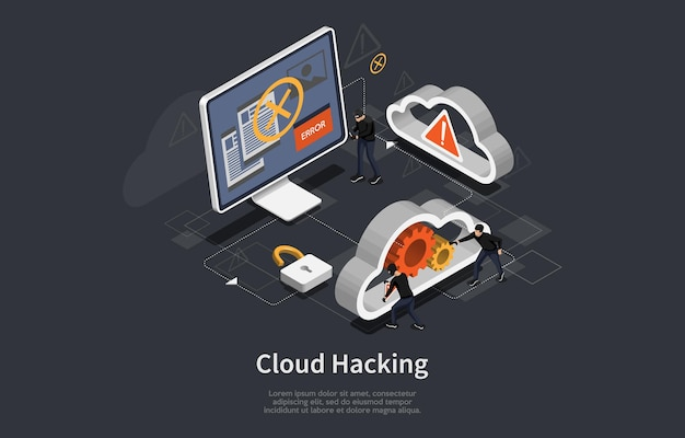 Cloud hacking conceptual art on dark. illustration in cartoon 3d style