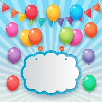Cloud held with colorful balloons