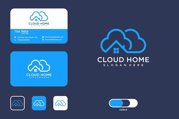 Облако дома линия арт дизайн логотипа и визитная карточка