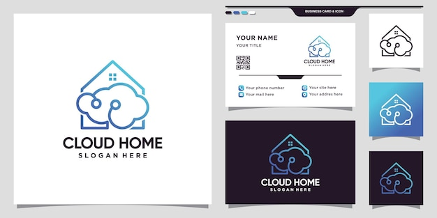 Cloud and home logo technology with line art style and business card design premium vector