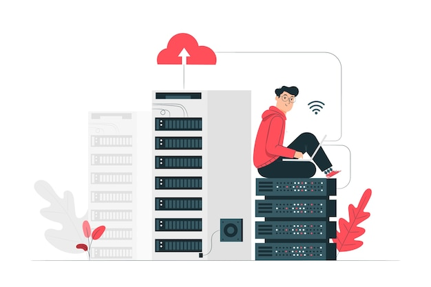 Illustrazione di concetto di cloud hosting