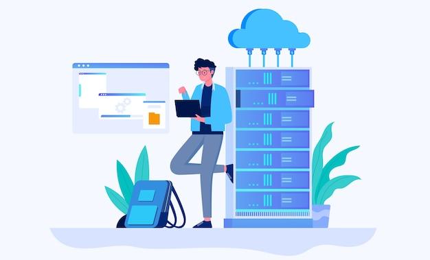 Cloud hosting data transmission illustration concept