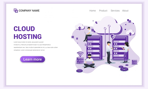 Cloud hosting services, digital storage, data center  landing page