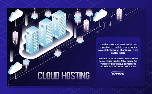 Cloud hosting vector isometric illustration