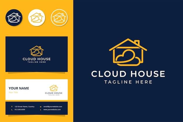 Cloud house line art logo design